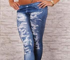 Low Waist Wash Jeans Leggings Vintage Style Fashion Pants Trendy Clothing